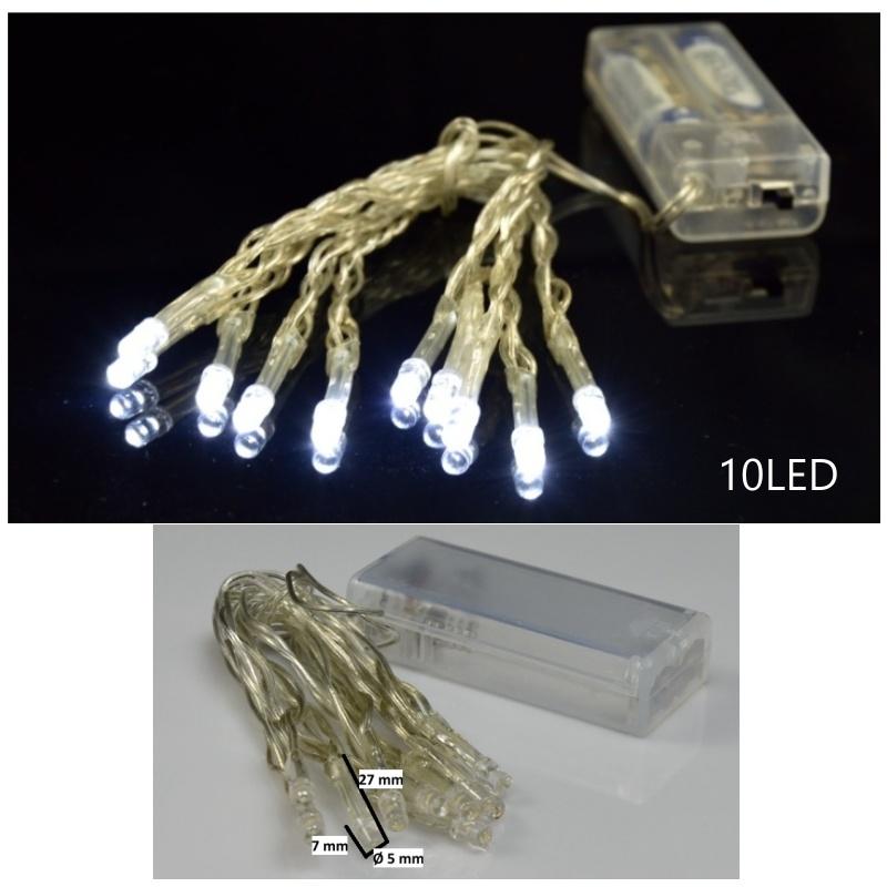 řetěz na baterie 10 led studené světlo