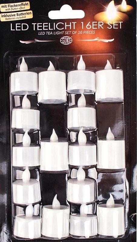LED čajová svíčka 16 ks