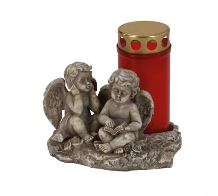 Šedý anděl na hrob stojan na svíčku