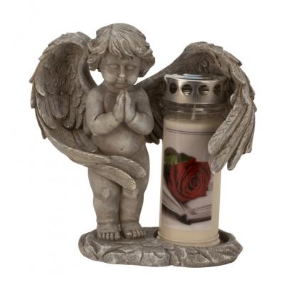 Šedý andělíček na hrob na svíčku