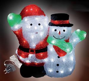 LED Santa se sněhulákem