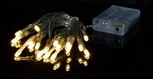 Vánoční řetěz na baterie 20 LED teplá bílá - délka 3m