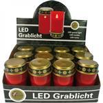 Hřbitovní LED svíčka červená s víčkem výška bez baterií rozměr 17 x 6,5 cm