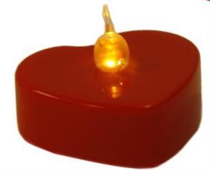 LED čajová svíčka na baterie červené srdce teplé světlo