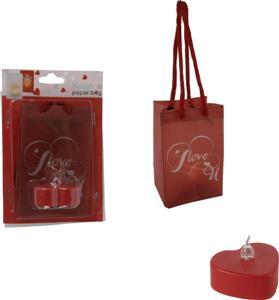 LED čajová svíčka červené srdce v dárkové taštičce 7 x 11 cm