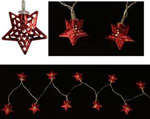 LED řetěz 165 cm červené hvězdy 4 cm na baterie, 10 LED