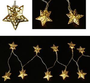 LED řetěz 165 cm zlaté hvězdy 4 cm na baterie, 10 LED