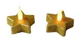 LED čajová svíčka zlatá vánoční hvězda 2 kusy teplé plápolající světlo 5,7*5,7 v. 4,5 cm