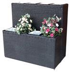 Střední ratanový květináč se zinkovou vložkou 79 x 22 x 40 cm (1 kus nižší rozměr)