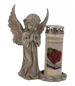 Šedý stojící modlící se anděl stojan na hřbitovní svíčku - dekorace na hrob andělíček výška 29,5 cm