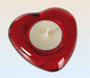 Stojan na čajovou svíčku skleněné červené srdce 8 x 8 cm