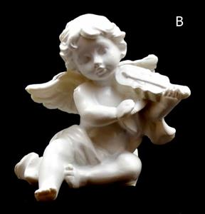 Andělíček hrající na hudební nástroj housličky 6x5,5x5 cm soška anděla bílý polyresin