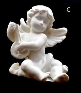 Andělíček hrající na hudební nástroj loutna pravý 6x5,5x5 cm soška anděla bílý polyresin