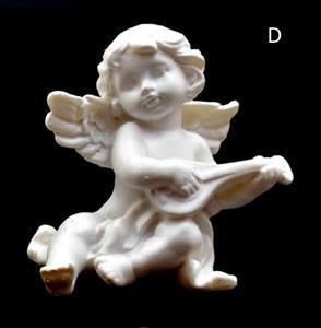 Andělíček hrající na hudební nástroj loutna levý 6x5,5x5 cm soška anděla bílý polyresin