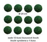 Sada 12 kusů buxusové koule průměr 25 cm z 1 kusu
