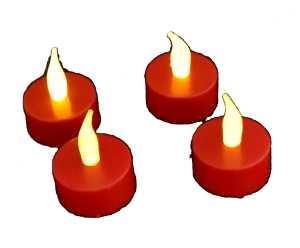 LED kulatá čajová svíčka červená sada 4 kusy plápolající teplé bílé světlo na baterie